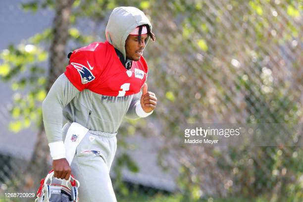 Cam Newton of the New England Patriots arrives to Patriots Training camp at Gillette Stadium on August 26 2020 in Foxborough Massachusetts