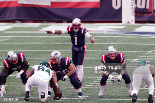 Cam Newton of the New England Patriots calls a play against the New York Jets at Gillette Stadium on January 3, 2021 in Foxborough, Massachusetts.