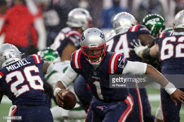 Cam Newton of the New England Patriots has a long run against the New York Jets at Gillette Stadium on January 3, 2021 in Foxborough, Massachusetts.