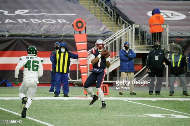 Cam Newton of the New England Patriots has a receiving Touchdown against the New York Jets at Gillette Stadium on January 3, 2021 in Foxborough,...