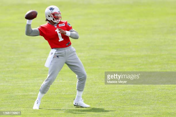 Cam Newton of the New England Patriots makes a throw during Patriots Training camp at Gillette Stadium on August 26 2020 in Foxborough Massachusetts