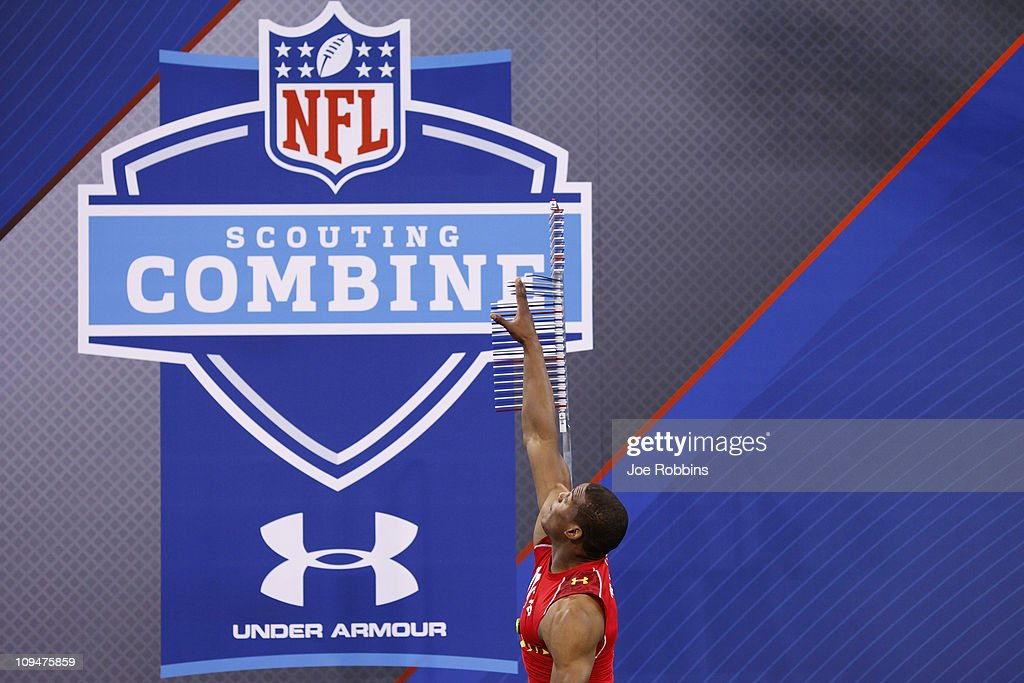 Cam Newton participates in the vertical jump during the 2011 NFL Scouting Combine at Lucas Oil Stadium on February 27, 2011 in Indianapolis, Indiana.