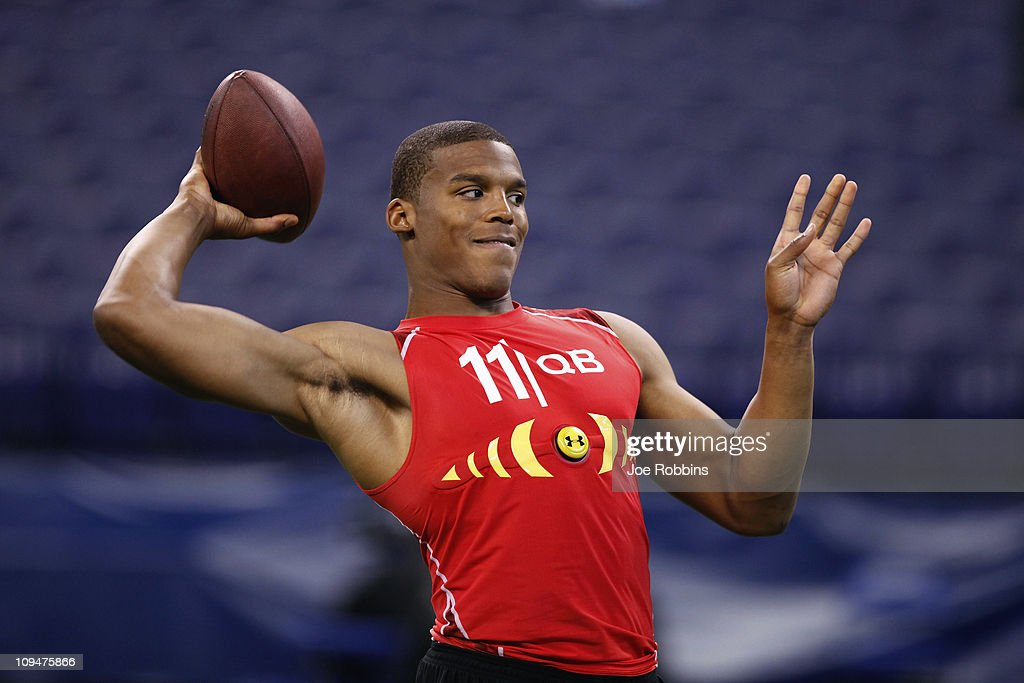 Cam Newton passes the ball during the 2011 NFL Scouting Combine at Lucas Oil Stadium on February 27, 2011 in Indianapolis, Indiana.
