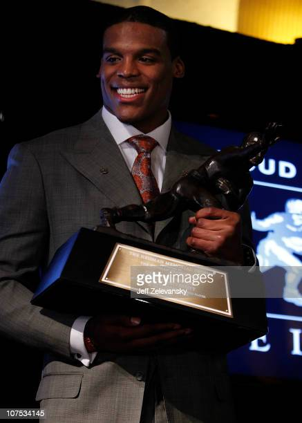Cam Newton quarterback of the Auburn University Tigers speaks after being awarded the 2010 Heisman Memorial Trophy Award on December 11 2010 in New...