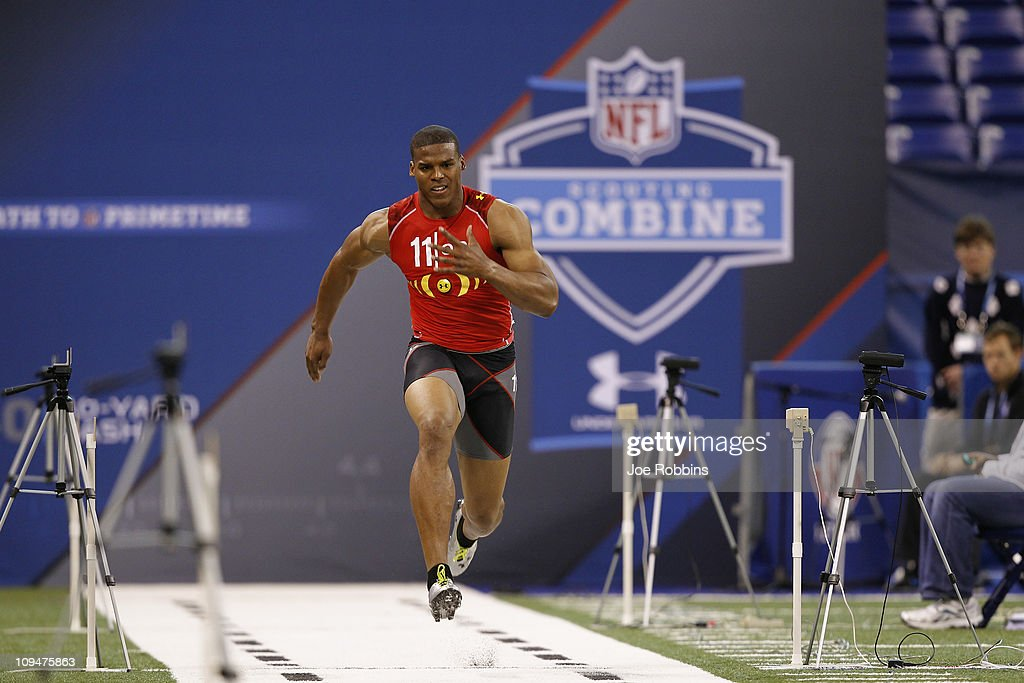 Cam Newton runs the 40-yard dash during the 2011 NFL Scouting Combine at Lucas Oil Stadium on February 27, 2011 in Indianapolis, Indiana.