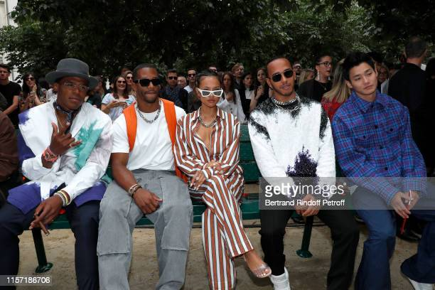 Cam Newton Victor Cruz Karrueche Tran Lewis Hamilton and Shuhei Nomura attend the Louis Vuitton Menswear Spring Summer 2020 show as part of Paris...