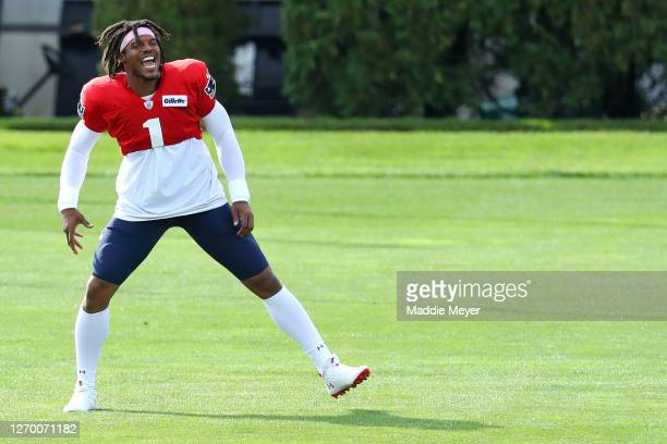 Cam Newton warms up during New England Patriots Training Camp at Gillette Stadium on September 01 2020 in Foxborough Massachusetts