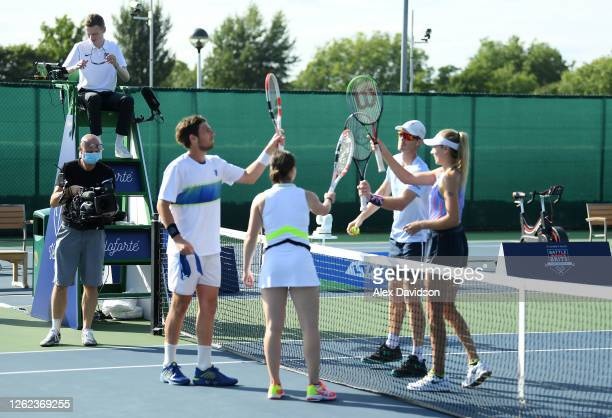 Cam Norrie and Beth Grey of British Bulldogs interact interact with Jamie Murray and Katie Boulter after their victory during day three St James's...