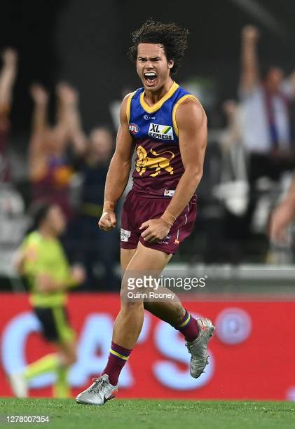 Cam Rayner of the Lions celebrates after scoring a goal during the AFL Second Qualifying Final match between the Brisbane Lions and the Richmond...