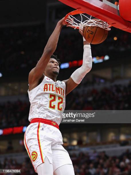 Cam Reddish of the Atlanta Hawks dunks against the Chicago Bulls at the United Center on December 28, 2019 in Chicago, Illinois. NOTE TO USER: User...