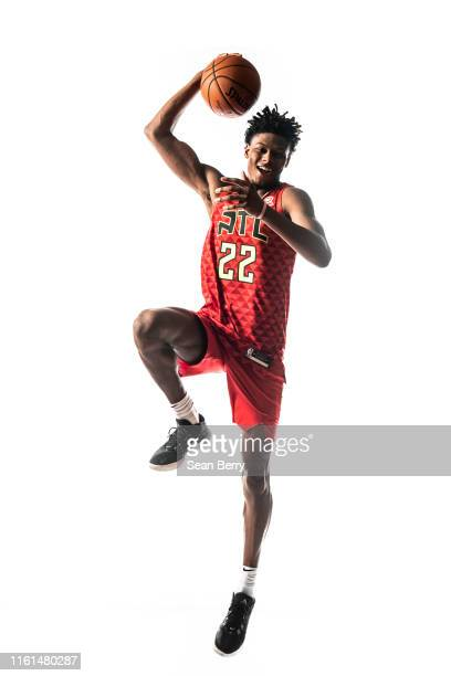 Cam Reddish of the Atlanta Hawks poses for a portrait during the 2019 NBA Rookie Photo Shoot on August 11 2019 at Fairleigh Dickinson University in...