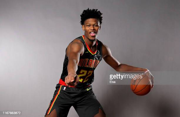 Cam Reddish of the Atlanta Hawks poses for a portrait during the 2019 NBA Rookie Photo Shoot on August 11 2019 at the Ferguson Recreation Center in...