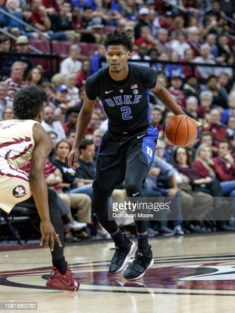 Cam Reddish of the Duke Blue Devils bring the ball up court during the game against the Florida State Seminoles at Donald L Tucker Center on January...