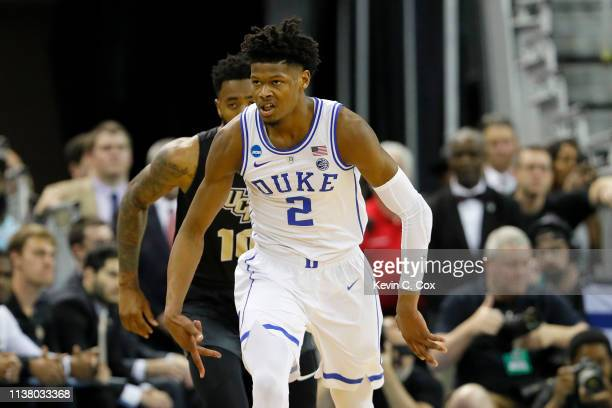 Cam Reddish of the Duke Blue Devils celebrates a three point basket against the UCF Knights during the first half in the second round game of the...