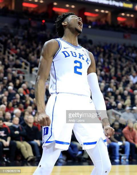 Cam Reddish of the Duke Blue Devils celebrates against the Louisville Cardinals at KFC YUM Center on February 12 2019 in Louisville Kentucky