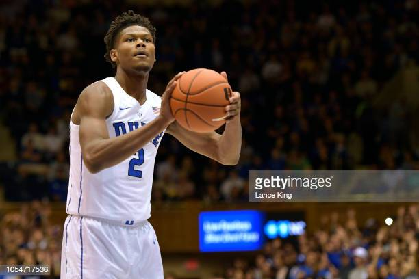 Cam Reddish of the Duke Blue Devils concentrates at the freethrow line against the Ferris State Bulldogs at Cameron Indoor Stadium on October 27 2018...