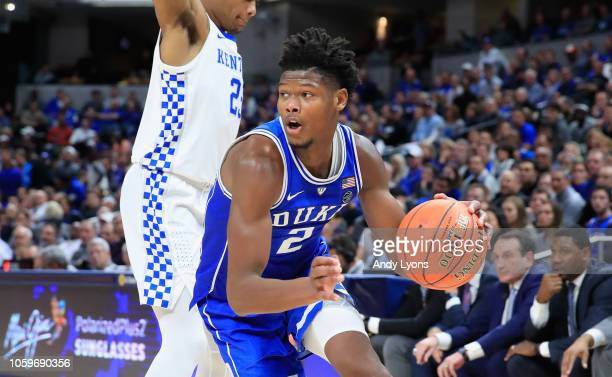 Cam Reddish of the Duke Blue Devils dribbles the ball against the kentucky Wildcats during the State Farm Champions Classic at Bankers Life...