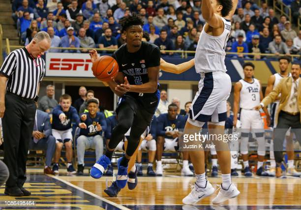 Cam Reddish of the Duke Blue Devils drives the baseline against the Pittsburgh Panthers at Petersen Events Center on January 22 2019 in Pittsburgh...