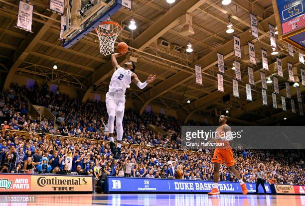 Cam Reddish of the Duke Blue Devils duinks against the Miami Hurricanes during the second half of their game at Cameron Indoor Stadium on March 02...