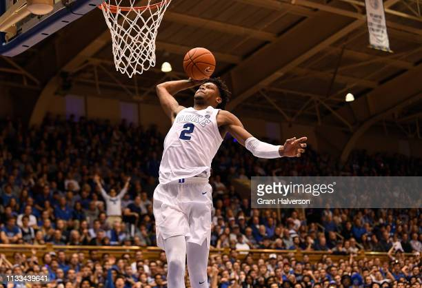 Cam Reddish of the Duke Blue Devils dunks against the Miami Hurricanes during their game at Cameron Indoor Stadium on March 02 2019 in Durham North...