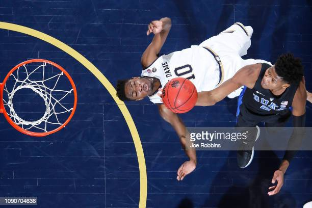 Cam Reddish of the Duke Blue Devils goes to the basket against TJ Gibbs of the Notre Dame Fighting Irish in the first half of the game at Purcell...