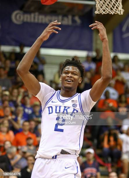 Cam Reddish of the Duke Blue Devils holds his arms up in disbelief the missed the shot after being fouled during the first half of the game against...