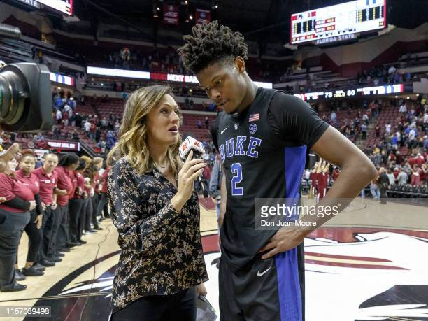 Cam Reddish of the Duke Blue Devils is interviewed by ESPN Reporter Allison Williams after the game against the Florida State Seminoles at Donald L...