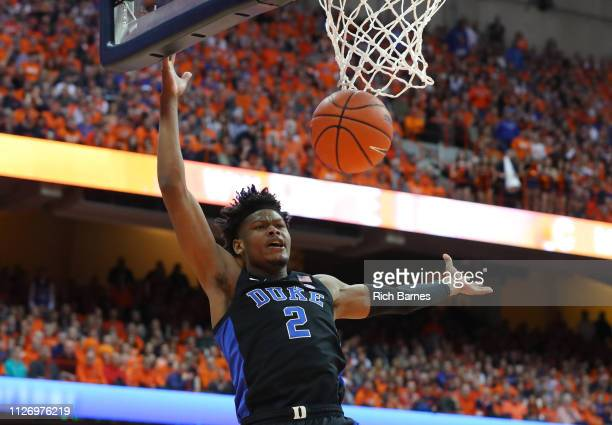 Cam Reddish of the Duke Blue Devils loses control of the ball on a drive to the basket against the Syracuse Orange during the first half at the...