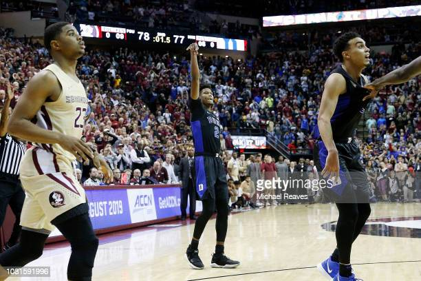 Cam Reddish of the Duke Blue Devils makes a three pointer basket with one second remaining against the Florida State Seminoles at Donald L Tucker...