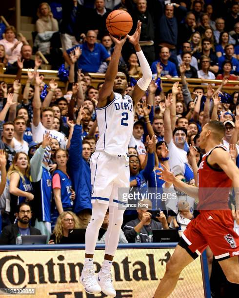 Cam Reddish of the Duke Blue Devils puts up a shot against the North Carolina State Wolfpack in the second half at Cameron Indoor Stadium on February...