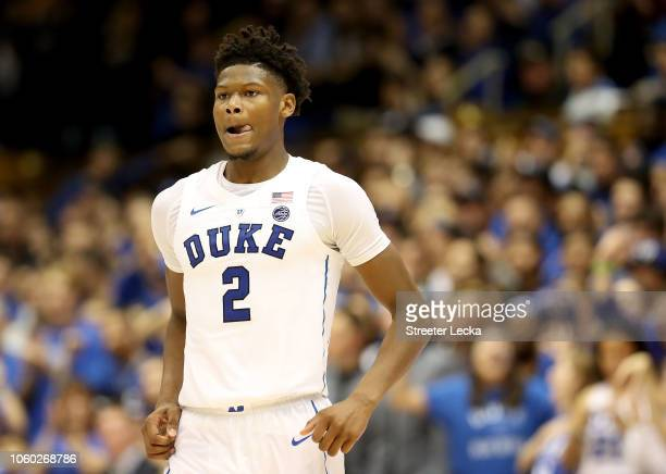 Cam Reddish of the Duke Blue Devils reacts after a play against the Army Black Knights during their game at Cameron Indoor Stadium on November 11...