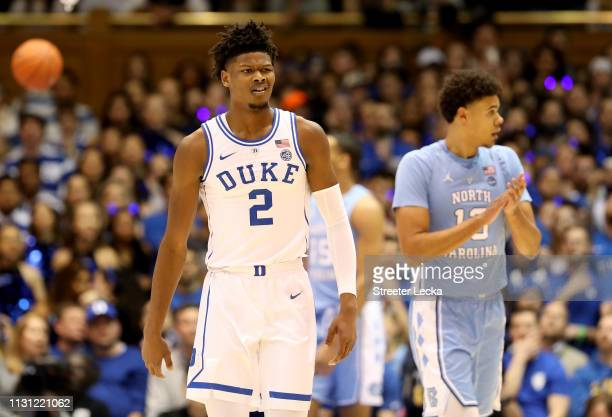 Cam Reddish of the Duke Blue Devils reacts after a play against the North Carolina Tar Heels during their game at Cameron Indoor Stadium on February...