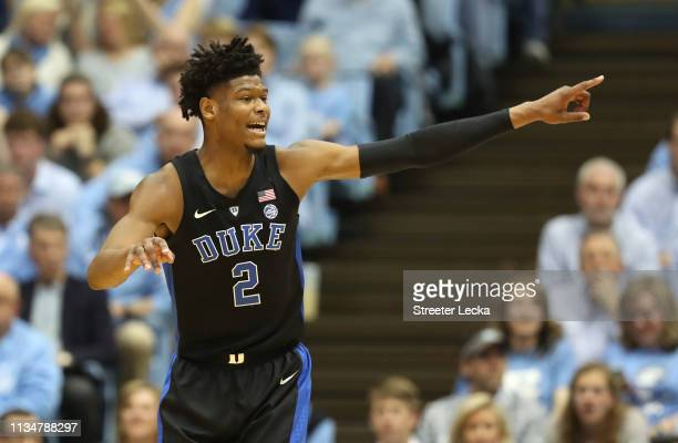 Cam Reddish of the Duke Blue Devils reacts after a play against the North Carolina Tar Heels during their game at Dean Smith Center on March 09 2019...