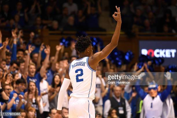 Cam Reddish of the Duke Blue Devils reacts after a threepoint basket against the Boston College Eagles during the first half of their game at Cameron...