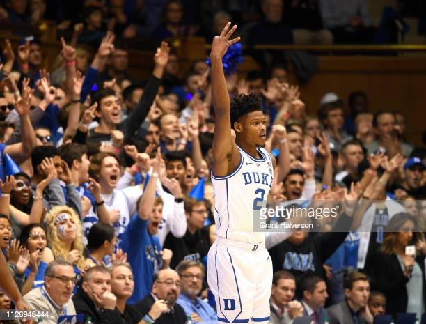 Cam Reddish of the Duke Blue Devils reacts after a threepoit basket against the St John's Red Storm during the first half of their game at Cameron...