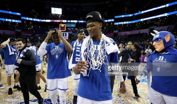 Cam Reddish of the Duke Blue Devils reacts after defeating the Florida State Seminoles 7363 in the championship game of the 2019 Men's ACC Basketball...
