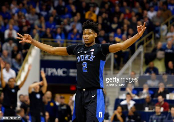 Cam Reddish of the Duke Blue Devils reacts after hitting a three pointer against the Pittsburgh Panthers at Petersen Events Center on January 22 2019...