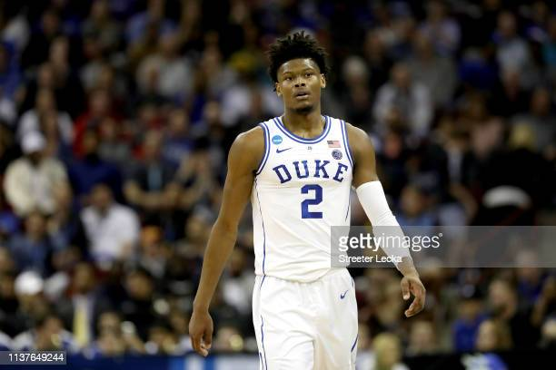 Cam Reddish of the Duke Blue Devils reacts against the North Dakota State Bison in the first half during the first round of the 2019 NCAA Men's...