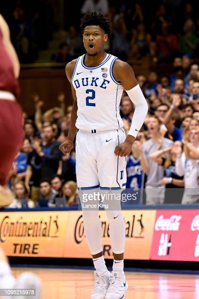 Cam Reddish of the Duke Blue Devils reacts during their game against the Boston College Eagles at Cameron Indoor Stadium on February 5 2019 in Durham...