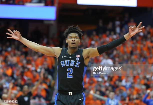 Cam Reddish of the Duke Blue Devils reacts to a made threepoint basket against the Syracuse Orange during the first half at the Carrier Dome on...