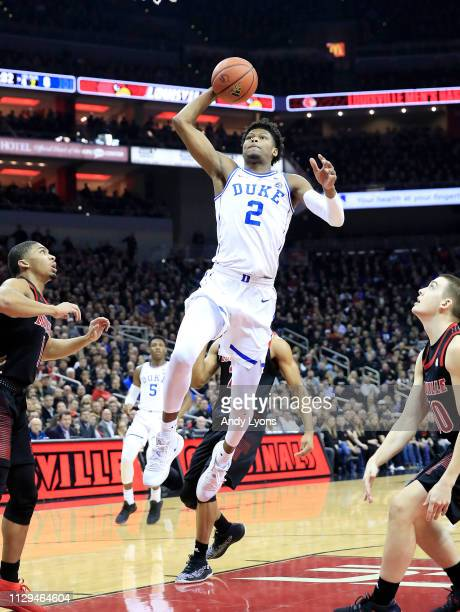 Cam Reddish of the Duke Blue Devils shoots the ball against the Louisville Cardinals at KFC YUM Center on February 12 2019 in Louisville Kentucky