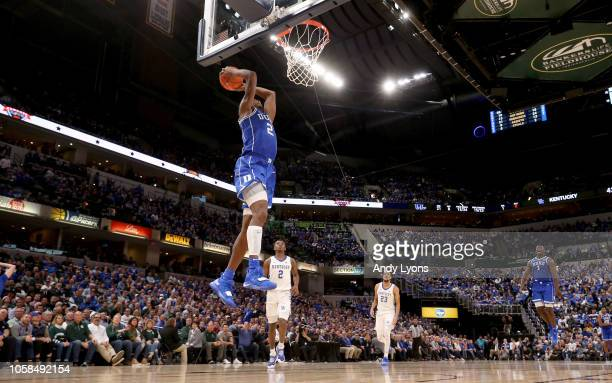 Cam Reddish of the Duke Blue Devils shoots the ball against the kentucky Wildcats during the State Farm Champions Classic at Bankers Life Fieldhouse...