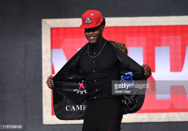 Cam Reddish reacts after being drafted with the tenth overall pick by the Atlanta Hawks during the 2019 NBA Draft at the Barclays Center on June 20...