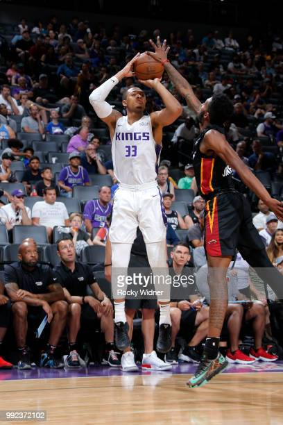 Cam Reynolds of the Sacramento Kings shoots the ball against the Miami Heat during the 2018 Summer League at the Golden 1 Center on July 5 2018 in...