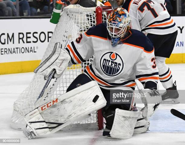 Cam Talbot of the Edmonton Oilers blocks a Vegas Golden Knights shot in the second period of their game at TMobile Arena on January 13 2018 in Las...