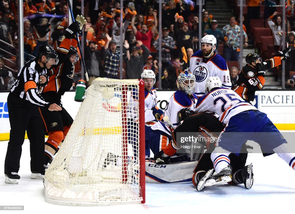 Cam Talbot #33 of the Edmonton Oilers looks back at the net as Rickard Rakell #67 of the Anaheim Ducks scores a goal to tie the game 3-3 with fifteen seconds remaining during the third period in Game Five of the Western Conference Second Round during the 2017 NHL Stanley Cup Playoffs at Honda Center on May 5, 2017 in Anaheim, California.