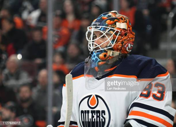 Cam Talbot of the Edmonton Oilers looks on against the Philadelphia Flyers on February 2 2019 at the Wells Fargo Center in Philadelphia Pennsylvania