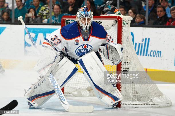 Cam Talbot of the Edmonton Oilers looks on during a NHL game against the San Jose Sharks at SAP Center at San Jose on April 6 2017 in San Jose...