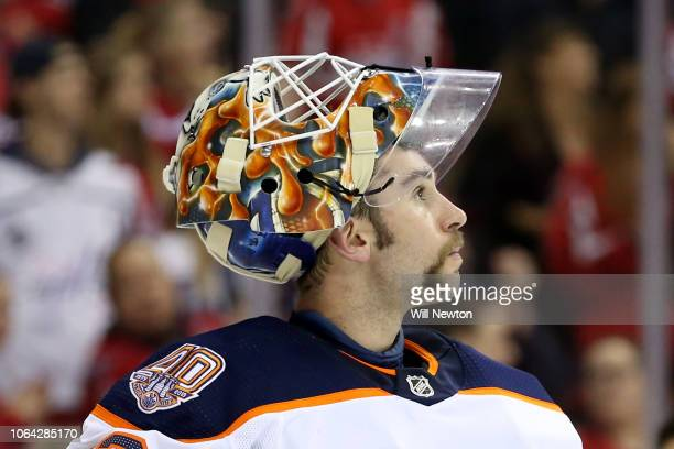 Cam Talbot of the Edmonton Oilers looks on during the second period against the Washington Capitals at Capital One Arena on November 5 2018 in...