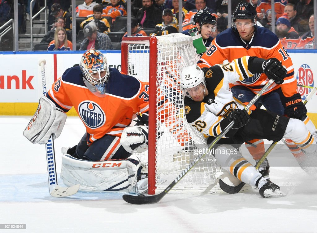 Cam Talbot #33 of the Edmonton Oilers makes a save on a shot from Riley Nash #20 of the Boston Bruins on February 20, 2018 at Rogers Place in Edmonton, Alberta, Canada.